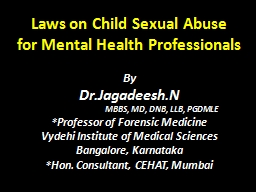 Laws on Child Sexual Abuse PowerPoint PPT Presentation