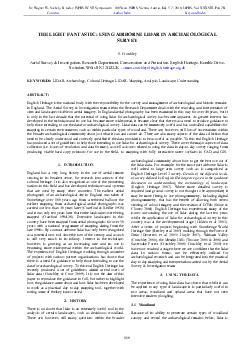 THE LIGHT FANTASTIC USING AIRBORNE LIDAR IN ARCHAEOLOGICAL SURVEY S