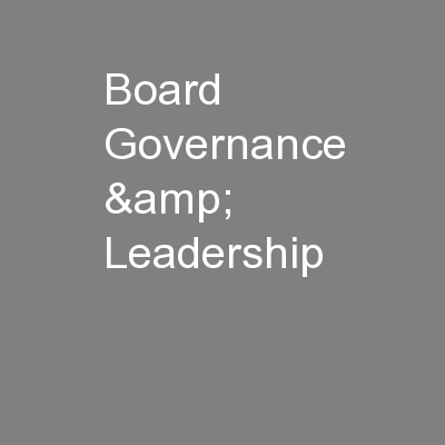 Board Governance & Leadership