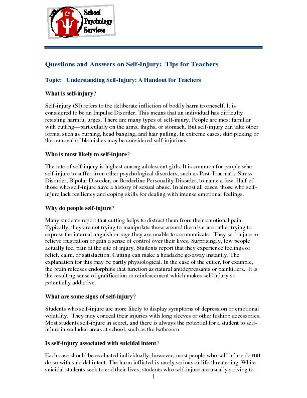 Questions and Answers on Self-Injury:  Tips for Teachers Self-injury (