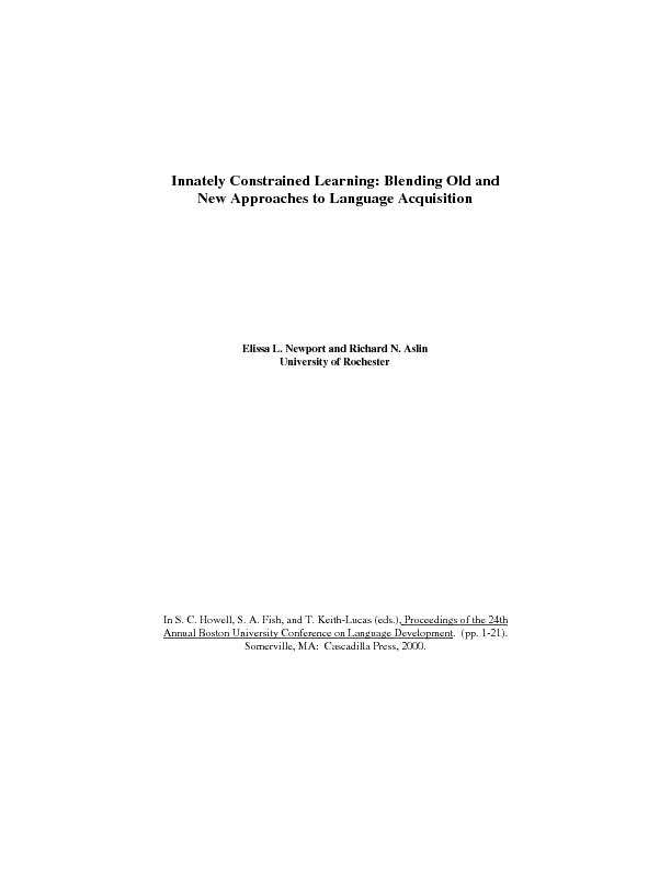 Innately Constrained Learning: Blending Old andNew Approaches to Langu