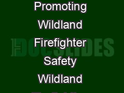 Work Capacity Test Work Capacity Testing for Wildland Firefighters Promoting Wildland Firefighter Safety Wildland Firefighting and other forms of field work demand a high level of fitness to safely p PowerPoint PPT Presentation