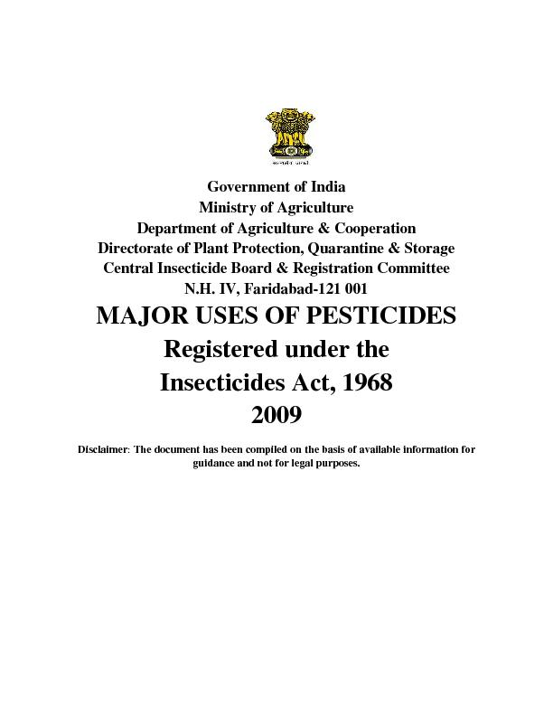 Government of India Ministry of Agriculture Department of Agriculture