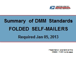 Summary of DMM Standards PowerPoint PPT Presentation