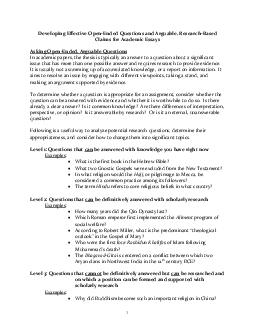 Developing Effective Open Ended Questions and Arguable Research Based Claims for Academic Essays Asking Open Ended  Arguable Questions In academic papers the thesis is typically an answer to a questi