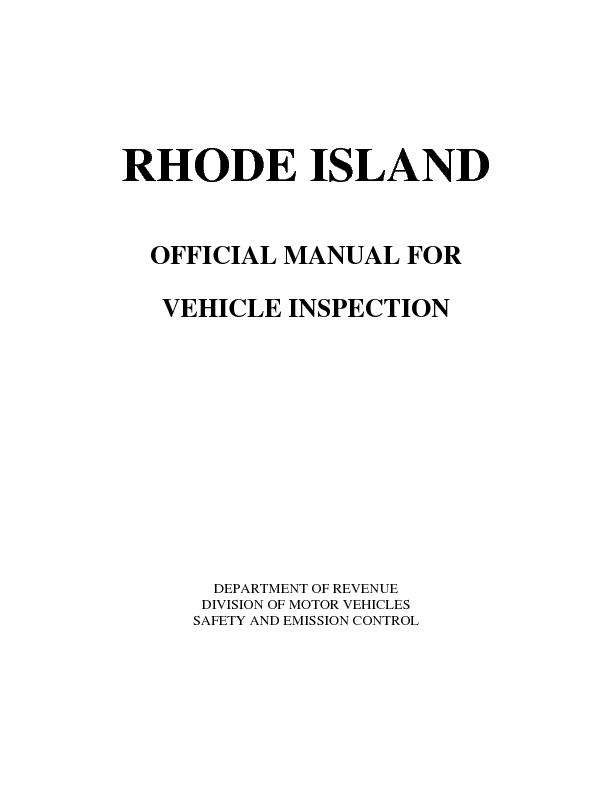 RHODE ISLAND    OFFICIAL MANUAL FOR  VEHICLE INSPECTION            DEP
