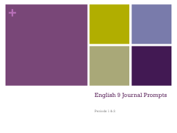 English 9 Journal Prompts