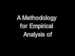 A Methodology for Empirical Analysis of