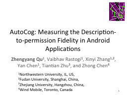 AutoCog: Measuring the Description-to-permission Fidelity i PowerPoint PPT Presentation