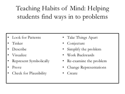 Teaching Habits of Mind: Helping students find ways in to p