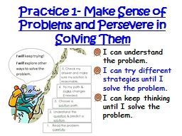 Practice 1- Make Sense of Problems and Persevere in Solving PowerPoint PPT Presentation