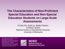 The Characteristics of Non-Proficient Special Education and