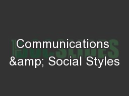 Communications & Social Styles PowerPoint PPT Presentation