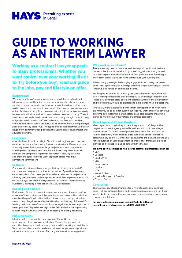 hays.co.uk/legalGUIDE TO WORKINGAS AN INTERIM LAWYER