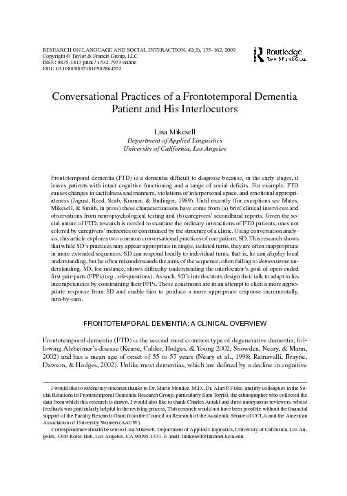 Conversational Practices of a Frontotemporal DementiaPatient and His I PowerPoint PPT Presentation