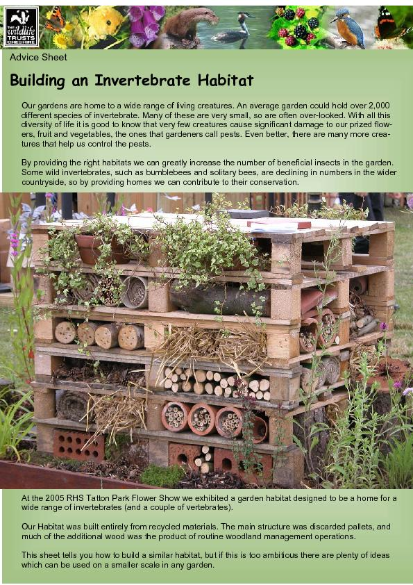 Advice Sheet Building an Invertebrate Habitat Our gardens are home to