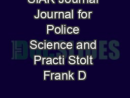 SIAK Journal Journal for Police Science and Practi Stolt Frank D