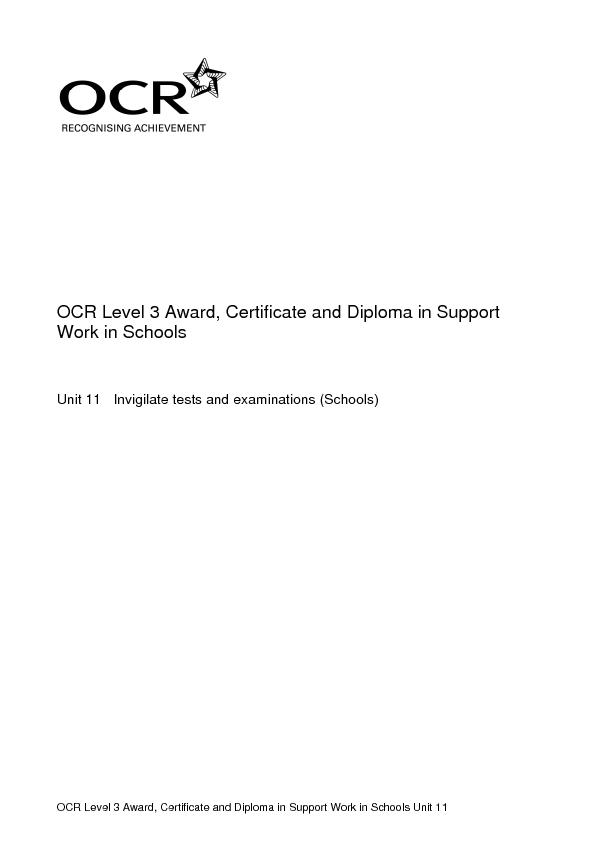 OCR Level 3 Award, Certificate and Diploma in Support Work in Schools