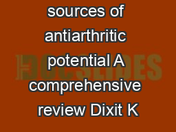 Herbal sources of antiarthritic potential A comprehensive review Dixit K