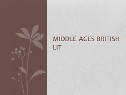Middle Ages British Lit
