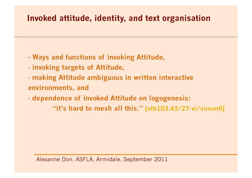 invoking targets of Attitude, -! making Attitude ambiguous in written