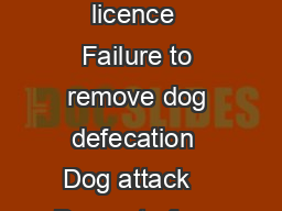 fines No licence  Failure to remove dog defecation  Dog attack    Dog out of con