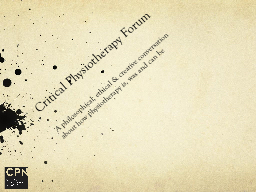 Critical Physiotherapy Forum