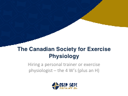 Hiring a personal trainer or exercise physiologist – the PowerPoint PPT Presentation