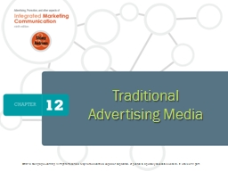 Traditional Advertising Media PowerPoint PPT Presentation