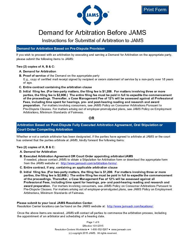 Demand for Arbitration Before JAMS Page 1 of 6 Effective 10/1/2015 Re