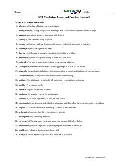 Co pyright  InstructorWeb Name Date SAT Vocabulary Lesson and Practice Lesson  Word List with Definitions