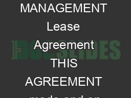 2/19/2008 JOINER MANAGEMENT Lease Agreement THIS AGREEMENT made and en