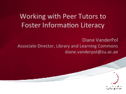 Working with Peer Tutors to Foster Information Literacy