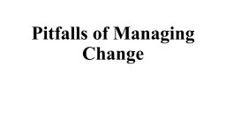 Pitfalls of Managing Change PowerPoint PPT Presentation
