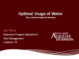 Optimal Usage of Water