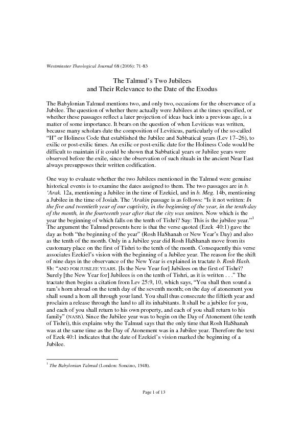 Page 1 of 13 Westminster Theological Journal 68 (2006): 71-83 The Talm