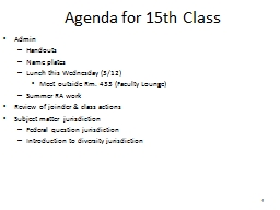 1 Agenda for 15th Class PowerPoint PPT Presentation