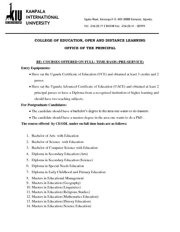 COLLEGE OF EDUCATION, OPEN AND DISTANCE LEARNING
