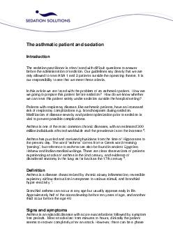 The asthmatic patient and sedation Introduction The sedation practitioner is often faced with difficult questions to answer before the administration of sedation PowerPoint PPT Presentation