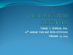 PLEADINGS AND DISCOVERY