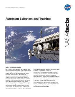 Astronaut Selection and Training NASA facts National Aeronautics and Space Administration Mans scope of space exploration has broadened since the first U PowerPoint PPT Presentation