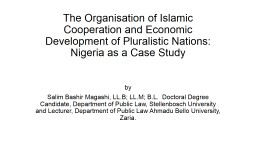 The Organisation of Islamic Cooperation and Economic Develo