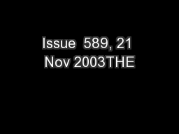 Issue  589, 21 Nov 2003THE PowerPoint PPT Presentation