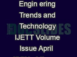 International Journal of Engin ering Trends and Technology IJETT Volume Issue April  ISSN   httpwww