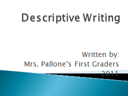 Descriptive Writing PowerPoint PPT Presentation