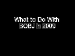 What to Do With BOBJ in 2009