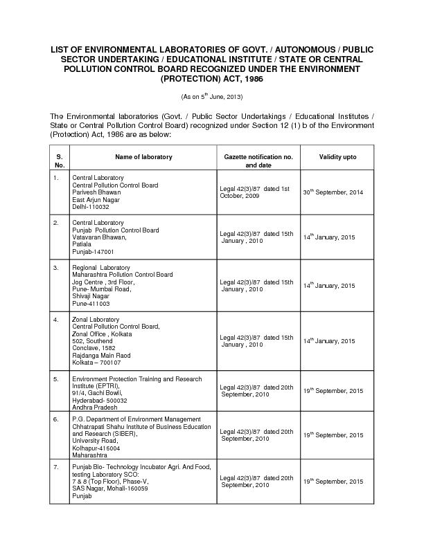 LIST OF ENVIRONMENTAL LABORATORIES OF GOVT. / AUTONOMOUS / PUBLIC PDF document - DocSlides