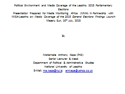 Political Environment and Media Coverage of the Lesotho 201
