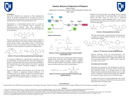 Greener Routes to Production of Polymers