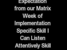 DRAFTED  Elementary SchoolWide PBS Lesson Plans Expectation from our Matrix Week of Implementation Specific Skill I Can Listen Attentively Skill StepsLearning Targets This means I will  have my eyes